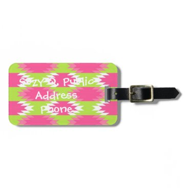 Aztec Themed Aztec Andes Tribal Hot Pink Lime Green Pattern Luggage Tag