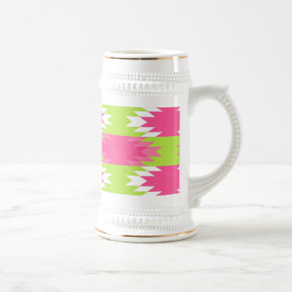 Aztec Andes Tribal Hot Pink Lime Green Pattern Beer Stein