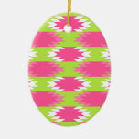 Aztec Andes Tribal Hot Pink Lime Green Pattern Ornament