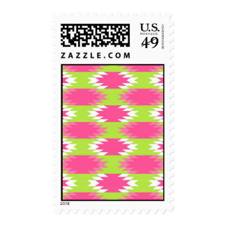Aztec Andes Tribal Hot Pink Lime Green Pattern Postage Stamps
