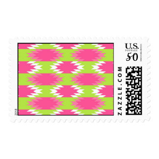 Aztec Andes Tribal Hot Pink Lime Green Pattern Postage