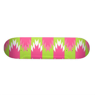 Aztec Andes Tribal Hot Pink Lime Green Pattern Skateboards