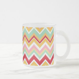 Aztec Andes Tribal Mountains Chevron Fiesta Zigag Frosted Glass Coffee Mug