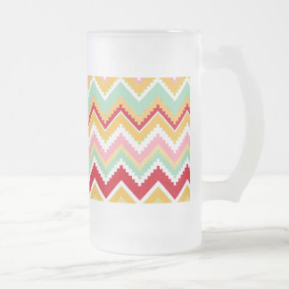 Aztec Andes Tribal Mountains Chevron Fiesta ZigZag Frosted Glass Beer Mug