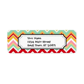 Aztec Andes Tribal Mountains Chevron Fiesta ZigZag Label