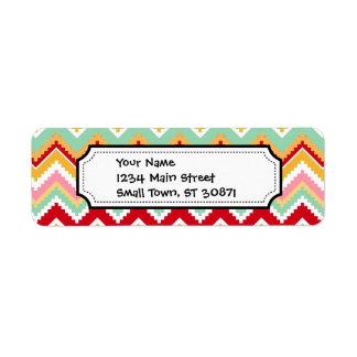 Aztec Andes Tribal Mountains Chevron Fiesta ZigZag Label