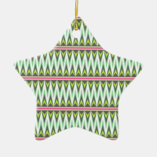 Aztec Andes Tribal Mountains Chevron Zig Zags Ceramic Ornament