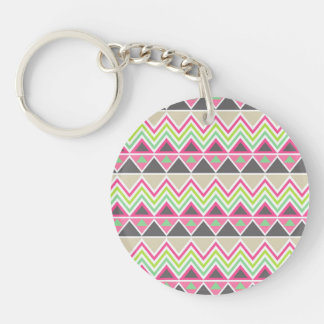 Aztec Andes Tribal Mountains Chevron Zig Zags Double-Sided Round Acrylic Keychain