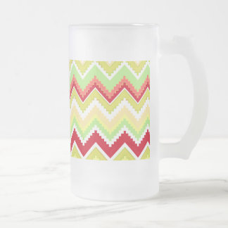 Aztec Andes Tribal Mountains Chevron Zig Zags Frosted Glass Beer Mug