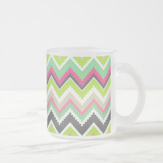Aztec Andes Tribal Mountains Chevron Zig Zags Frosted Glass Coffee Mug