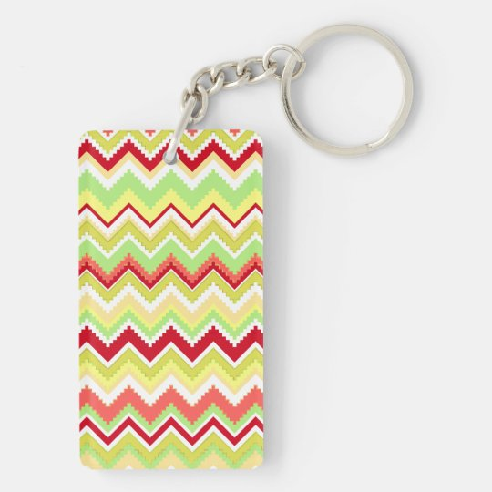 Aztec Andes Tribal Mountains Chevron Zig Zags Keychain