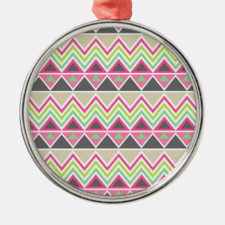 Aztec Andes Tribal Mountains Chevron Zig Zags Metal Ornament