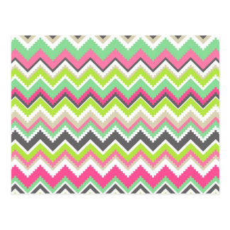 Aztec Andes Tribal Mountains Chevron Zig Zags Post Card