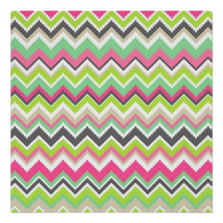 Aztec Andes Tribal Mountains Chevron Zig Zags Poster