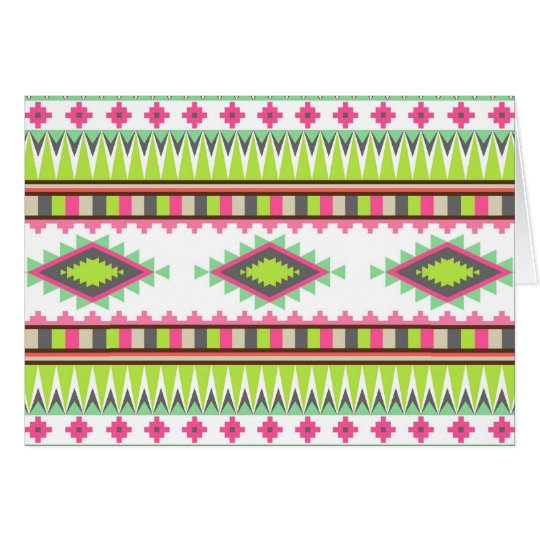 Aztec Andes Tribal Mountains Diamonds Zigzags Card