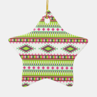 Aztec Andes Tribal Mountains Diamonds Zigzags Ceramic Ornament