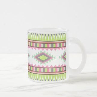 Aztec Andes Tribal Mountains Diamonds Zigzags Frosted Glass Coffee Mug