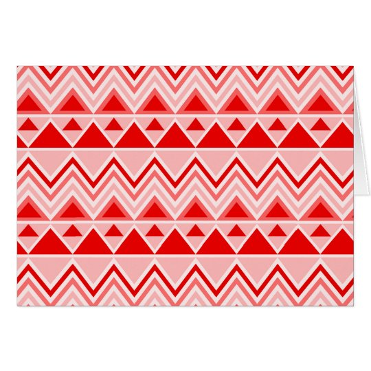 Aztec Andes Tribal Mountains Triangles Chevron Red Card