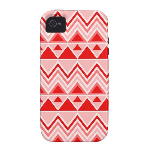 Aztec Andes Tribal Mountains Triangles Chevron Red Vibe iPhone 4 Covers