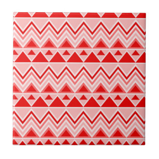 Aztec Andes Tribal Mountains Triangles Chevron Red Ceramic Tile