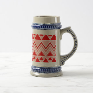 Aztec Andes Tribal Mountains Triangles Chevron Red Beer Stein
