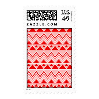 Aztec Andes Tribal Mountains Triangles Chevron Red Stamp