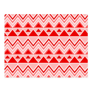 Aztec Andes Tribal Mountains Triangles Chevron Red Postcard