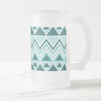 Aztec Andes Tribal Mountains Triangles Chevrons Frosted Glass Beer Mug