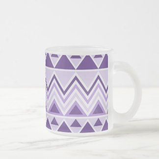 Aztec Andes Tribal Mountains Triangles Chevrons Frosted Glass Coffee Mug