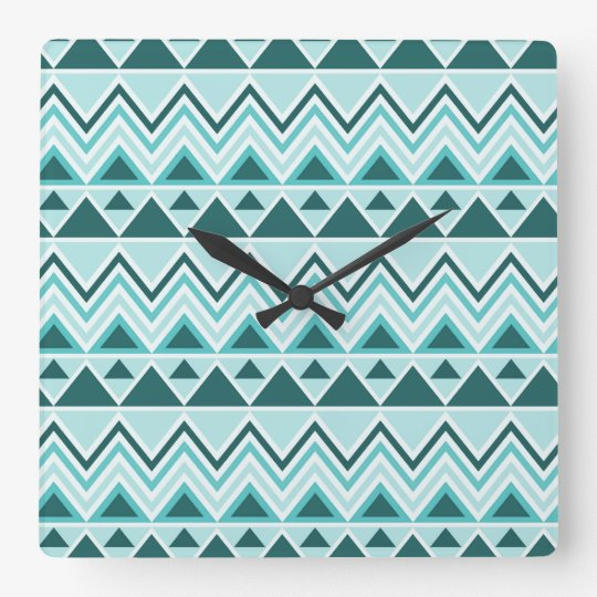 Aztec Andes Tribal Mountains Triangles Chevrons Square Wall Clock