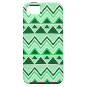 Aztec Andes Tribal Mountains Triangles Green iPhone 5 Case