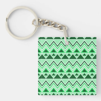 Aztec Andes Tribal Mountains Triangles Green Double-Sided Square Acrylic Keychain