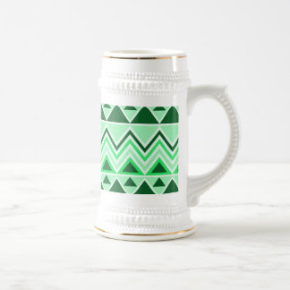 Aztec Andes Tribal Mountains Triangles Green Beer Stein