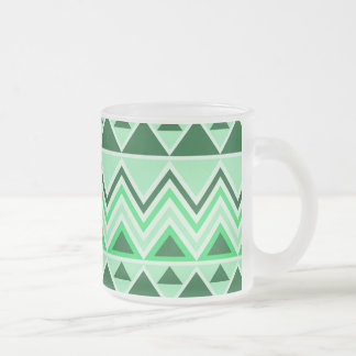 Aztec Andes Tribal Mountains Triangles Green Mugs