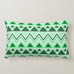 Aztec Andes Tribal Mountains Triangles Green Throw Pillows