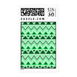 Aztec Andes Tribal Mountains Triangles Green Postage