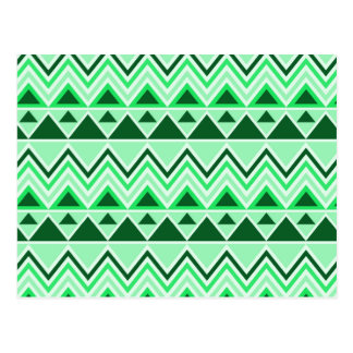 Aztec Andes Tribal Mountains Triangles Green Postcard