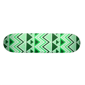 Aztec Andes Tribal Mountains Triangles Green Skate Board Deck