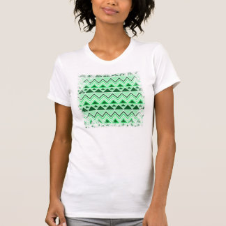 Aztec Andes Tribal Mountains Triangles Green Tee Shirt