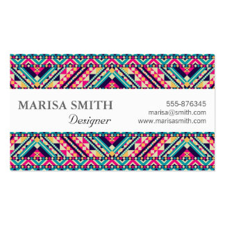 Aztec Andes Tribal Pattern Business Card Template