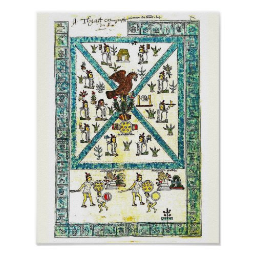 Aztec Art Codex Mendoza Cover copy  Middle Ages Poster