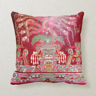 Aztec Art on Red Design Throw Pillow