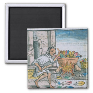 Aztec artisans dyeing feathers 2 inch square magnet