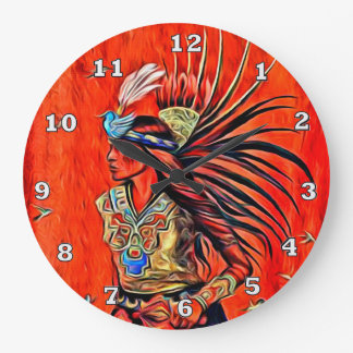 Aztec Bird Dancer Native American Clock