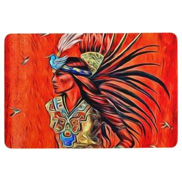 Aztec Themed Aztec Bird Dancer Native American Floor Mat