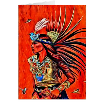 Aztec Themed Aztec Bird Dancer Native American Greeting Card