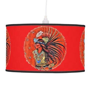 Aztec Themed Aztec Bird Dancer Native American Hanging Lamp