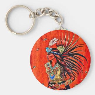 Aztec Bird Dancer Native American Keychain