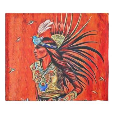 Aztec Themed Aztec Bird Dancer Native American King Size Duvet
