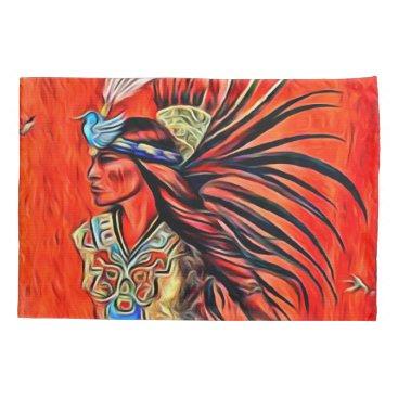 Aztec Themed Aztec Bird Dancer Native American Pillowcase